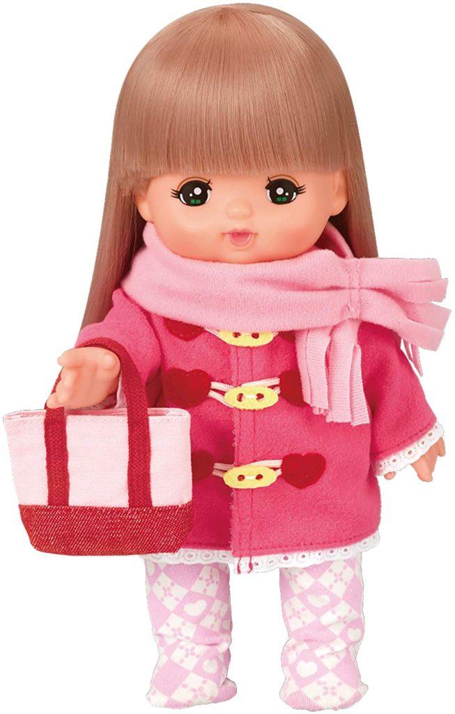 メルちゃんの服・マフラーとピンクのダッフルコート