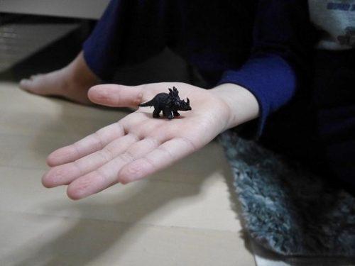 恐竜ボードゲームのすごろく用のコマが手の上にのっている