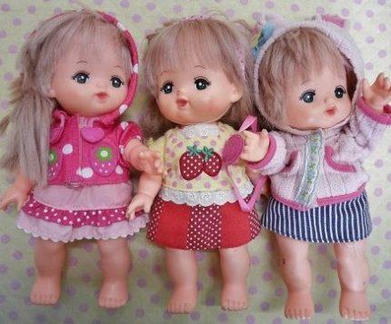 メルちゃん3体の人形のファッション
