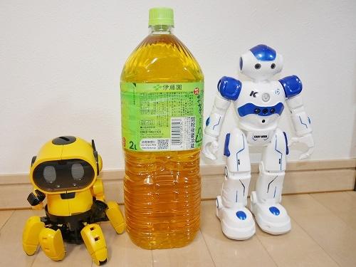 2リットルペットボトルと並んで立つ2体のロボット
