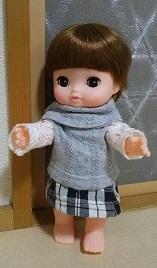 レミンちゃん・メルちゃんのセーターとチェックのスカートハンドメイド服