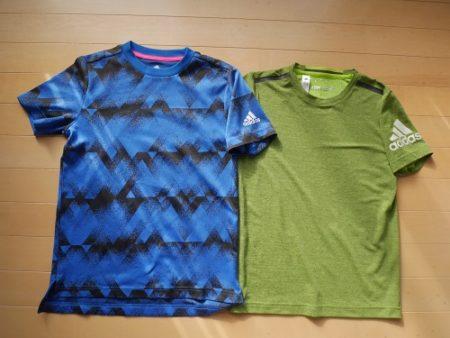 アディダスの黄緑と青の派手な男子Tシャツ