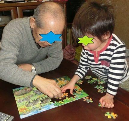 公文のジグソーパズルSTEP4の88ピースで遊ぶ4歳男の子