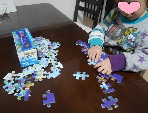 くもんのジグソーパズルが苦手な3歳女の子