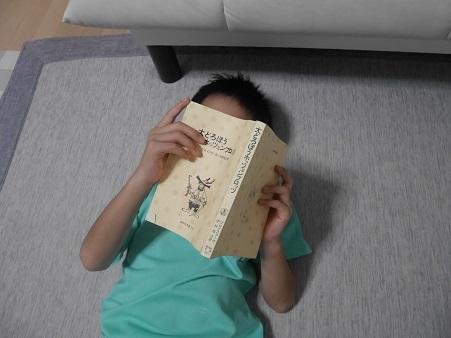 大どろぼうホッツエンプロッツを読む小学生の男の子