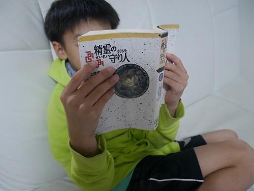 精霊の守り人シリーズの小説を読む小学5年生の男の子
