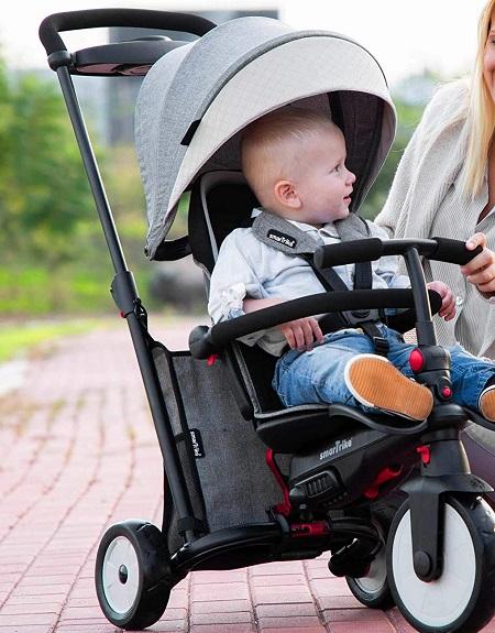 ベビーカーのような三輪車に乗っている赤ちゃん