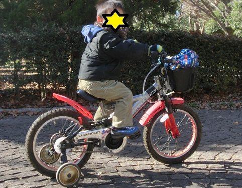 補助輪付き自転車に乗っている3歳の男の子
