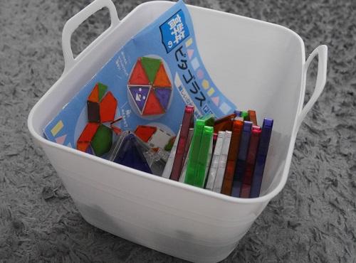 ピタゴラスのおもちゃを100均の箱に収納