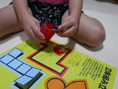 算数図鑑で直方体を組み立てている4歳の女の子