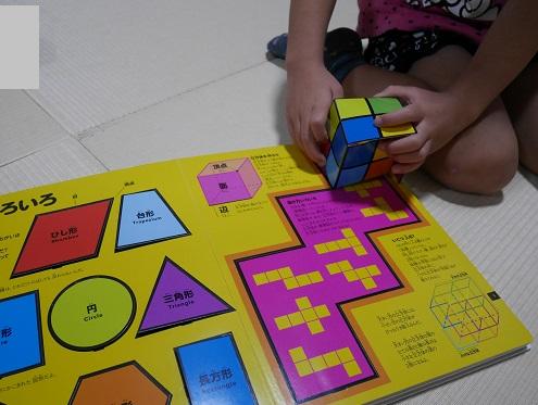算数図鑑の実体験・立方体のサイコロを組み立てている4歳女の子
