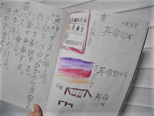 小学3年生の男の子の自主学習で寿命図鑑をまとめたページ