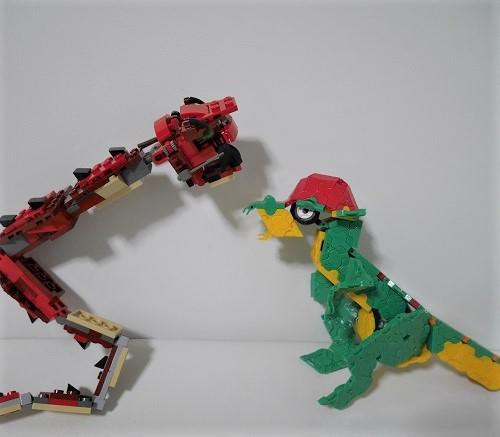 ラキューの恐竜とレゴのドラゴンの見た目を比較