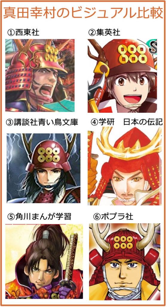 真田幸村のイケメンイラスト顔を比較