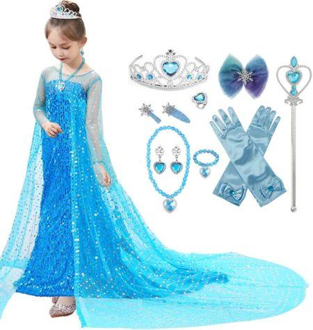 アナと雪の女王のエルサ風の女の子向けドレス