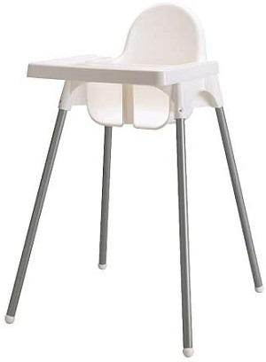 イケアのプラスチックハイチェア子供用椅子トレイ付き