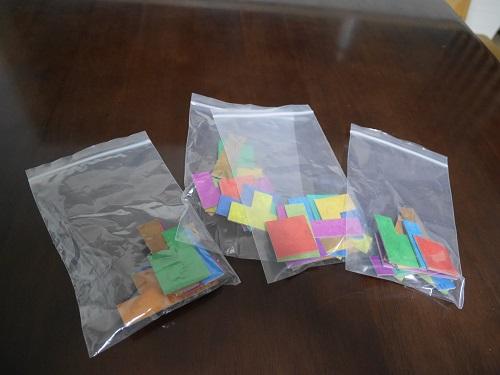 ウボンゴのパズルタイルを収納する透明袋