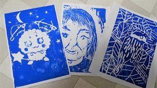 自宅での一色刷りの版画のやり方や作品例