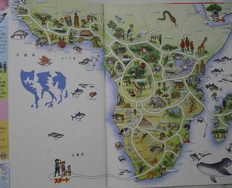 世界地図の迷宮のアフリカ大陸の迷路