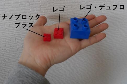 レゴとナノブロックプラスとレゴ・デュプロのサイズを比べたもの