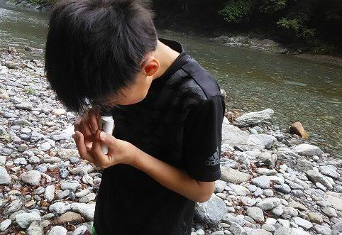 ミニ顕微鏡で河原の石を観察する小学生高学年の男の子