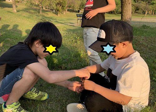 草相撲で対決している小学生男子