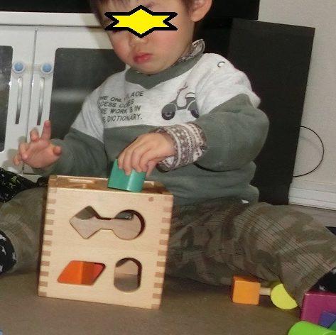 ドロップインザボックスで遊ぶ2歳の男の子