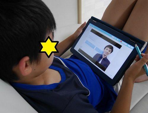 タブレット学習のRisuのチューター解説動画を見ている小学生男の子