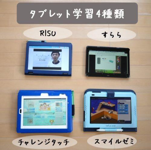 RISUとチャレンジタッチとスマイルゼミとすららの4種類を比較