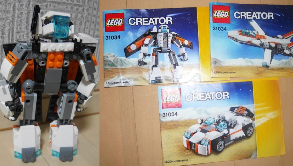 レゴクリエイターシリーズのロボットや飛行機