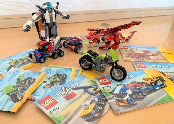 レゴクリエイターシリーズの伝説の生き物とロボットとバイクと説明書