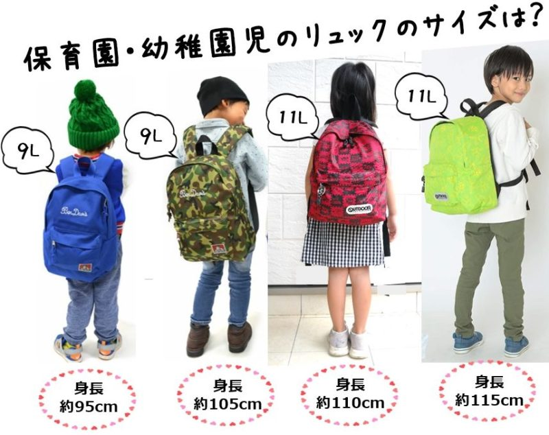 幼稚園児や保育園児の通園用遠足におすすめのリュックサイズの大きさを比較
